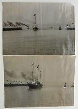 2 PHOTOS MANUEL 1913 MARINE BATEAUX LE HAVRE VOYAGE POINCARE ENTREE DU PORT