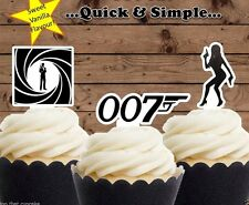 James Bond 007 edible wafer Cupcake Cake Toppers Birthday bachelor party