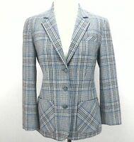 VTG PENDLETON Women's Blue/Brown Plaid Blazer Wool Jacket Coat 8 P USA NICE!!!
