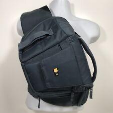 Digital Camera DSLR Sling Shoulder Bag Backpack Blue Padded Strap Case Logic