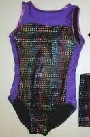 New Girls 4-6 6-7 8-10 12-14 Child Leotard Dance Gymnastics XS S M L Purple Holo