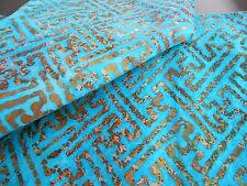 """BATIK one-of-a-kind geometric on turquoise 100% cotton quilt fabric 3 yds x 44""""w"""
