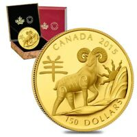2015 $150 Canadian Year of the Sheep Proof Gold Coin AGW .2855 oz (w/Box & COA)