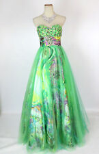 NEW PAPARAZZI 91063 Green /Multi Floral Strapless Wedding Women Evening Gown 0