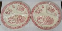 Lot Of 2 Vintage RED WILLOW Dividied Portion Plates Societe Ceramique Holland