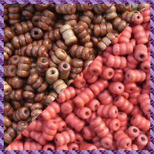 100 Perles Legno Tubo 2 coloris Marrone Scurire / Rosso