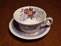 Vintage Spode Copeland Mayflower England Large Teacup and Saucer Lavender 2/8772