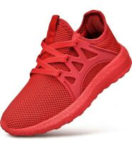 Feetmat Kids Sneakers Lightweight Breathable Boys Tennis Shoes running red 13.5