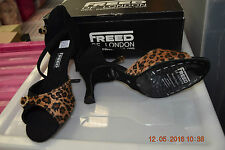 Black Leopard nubuck Freed Leona ballroom/latin dance shoes - size  UK 5