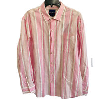 Tommy Bahama Mens L/S Linen Shirt Large Emerald Shores Stripe Pink Beach