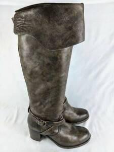 Frye Womens Kelly Motorcycle Boots Gray Block Heel Zip Buckle Almond Toe 9