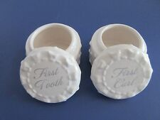 C.R. Gibson Baby First Tooth First Curl White Ceramic Porcelain
