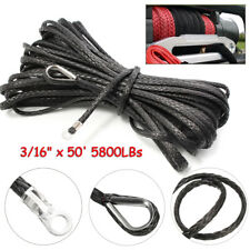 3/16'' x 50' Synthetic Winch Rope 5800LBs ATV UTV SUV Cable Line W/ Sheath
