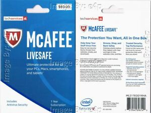 20X McAFEE LIVESAFE 2017 SECURITY PC MAC iOS ANDROID DEVICES BRAND NEW SEALED!!!