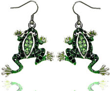 Silver Tone Frog Earrings Emerald Peridot Color Crystal Gift Boxed Fast Shipping