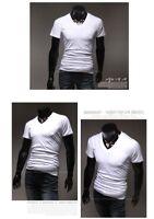 Men's Gym Solid T Shirt Fitness V Neck Bodybuilding Muscle Sweatshirts Basic Tee