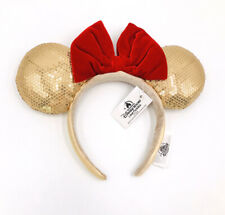 Mickey Mouse Rare Red Bow Minnie Ears Gold 2019 Sequins Disney Parks Headband