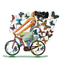 David Gerstein Art Rider in Euphoria Modern Metal Sculpture Lady & Butterflies