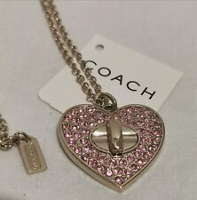 Coach PAVE TURNLOCK GOLD PINK RHINESTONE HEART NECKLACE 95386 NWT