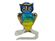 TINY CRYSTAL OWL HAND BLOWN CLEAR GLASS ART OWL FIGURINE ANIMAL COLLECTION 01