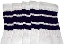 "25"" KNEE HIGH WHITE tube socks with NAVY BLUE stripes style 1 (25-34)"
