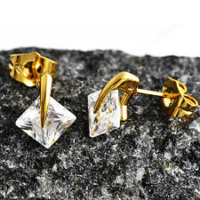 shining jewelry Lucky CZ stud earrings Yellow Gold Plate for Womens /Girls