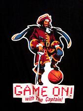 "CAPTAIN MORGAN lrg basketball T shirt RUM throwback tee 2001 ""Game On"" booze"