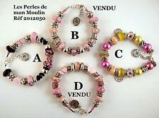 1 Bracelet AU CHOIX Cordon Simili Cuir Rose Perles Compatibles / 2012050 A-B-C-D