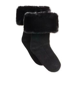 UGG Faux Fur Short Rainboots Socks Black