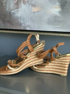 Michael Michael Kors Brown Braided Strappy Espadrille Wedge Heel Shoes Size 6.5