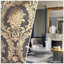 Designer Velvet Chenille Burnout Damask Upholstery Fabric - Gray & Gold