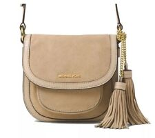 MICHAEL KORS Dunn Medium Suede Saddle Crossbody Bag w/ Tassel Shell $328 NEW