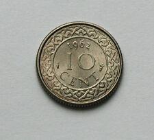 1962 SURINAME Coin - 10 Cents - AU+ toned-lustre - tiny 15mm size
