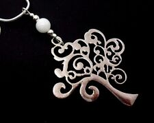 A TIBETAN SILVER WHITE JADE BEAD TREE OF LIFE THEMED NECKLACE. NEW.