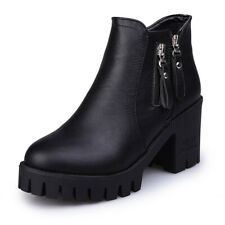 Fall Winter Faux Leather Ankle Boots Casual Round Toe Block Heel Side Zip Bootie