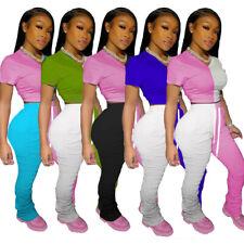 Stylish Women Short Sleeves Color Block Patchwork Draped Bodycon Jumpsuit 2pcs