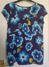Ladies Navy & Blue Multi Floral Print Top - Size 14 From New Look