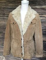 Wilsons Suede Leather Faux Fur Tan Beige Brown Jacket Coat Size Small Womens