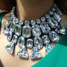 Unique Statement Rhinestone Crystal Black Ribbon Tie Bib Gem Collar Necklace