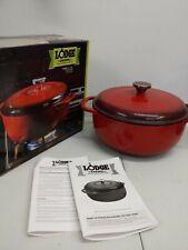 New listing Lodge, 6qt Porcelain Enamel Cast Iron Dutch Oven Broil Bake Roast Fry (Read)