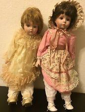 "Lot Of 2 Vintage Heritage Mint Ltd. Porcelain Dolls Collection Collectible 17"""