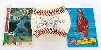 .PETE ROSE, HAND SIGNED AUTOGRAPHED RAWLINGS BASEBALL + 2 CARDS. 100% GENUINE.