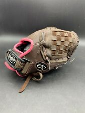 "RAWLINGS 11"" RHT FASTPITCH SOFTBALL GLOVE MITT FP11T LEATHER BROWN/PINK Used"