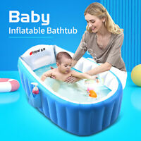 Inflatable Baby Tub Travel Bath Kids Bathtub Shower Newborn Swimming Pool Blue