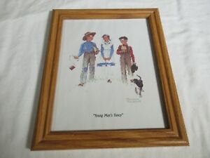 """Vintage Norman Rockwell Framed Print """"Young Man's Fancy"""" 8x10 in wood frame"""