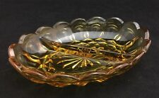 Vintage Amber Glass Divided Oval Candy Dish
