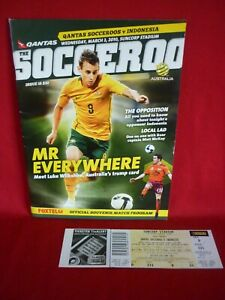 AUSTRALIA vs INDONESIA ASIAN CUP QUALIFIER TICKET & PROGRAMME MARCH 2010 VGC