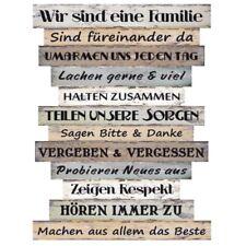 Wandschild Holz Deko Schild Familie Regeln  Sprüche Vintage Shabby Planken #037