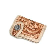 Handcrafted Carved Cow Leather Middle Wallet Koi Carp fish Sterling Silver Snap