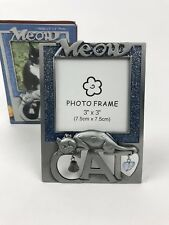 "Metal Meow Cat Photo Picture Frame Bell  Fits 3"" X 3"" Blue New"